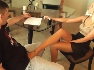 pantyhose footjob buisness woman