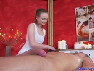 This masseuse is such a tease, and she makes her client rock hard, when she flashes her sexy ass crack his way. Her hand slides across his cock, and she tries out the 69 position on him, to get him to cum.