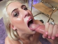 Pale skin long legged blonde babe gets on her knees to deepthroat a dick