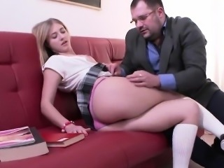 Innocent schoolgirl gets seduced and nailed by her elder tea