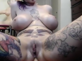 Sweet Huge Tits Brunette Fucked Herself With Her Sextoy