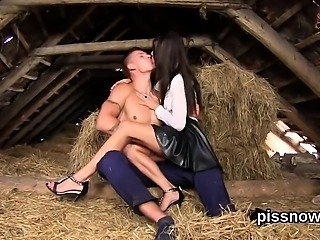 Astounded peach in lingerie is geeting peed on and screwed