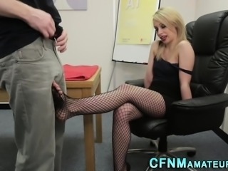 Clothed classy blond tugs