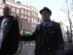 Stockinged Dutch hooker takes cum in mouth