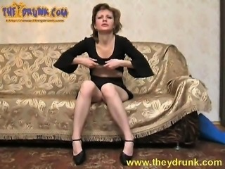 Sultry housewife Isolda gets totally wasted and reveals her hairy twat