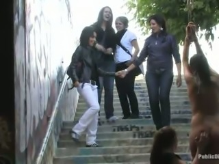 Group of Euro student chicks punish one nude brunette in public