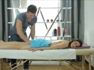 Pretty brunette babe Khloe gets fucked hard by her masseur