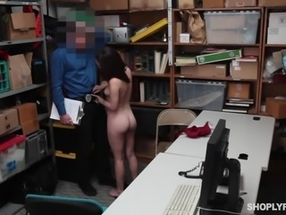 Lily Jordan got caught trying to steal some clothes. She thought she was smarter than the security guard, and he's going to show her, how wrong she was the hard way. He films himself with a spy cam, as he correcting this little rebel right on his desk.