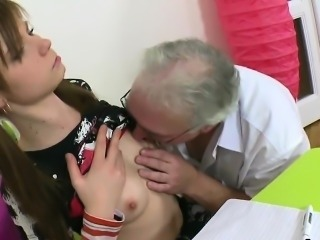 Cuddly schoolgirl is teased and reamed by her senior teacher