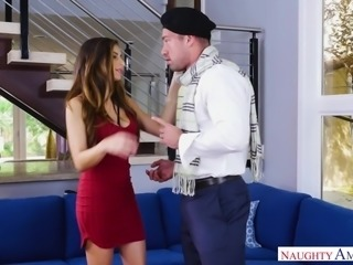 His wife was away shopping, so she invited his mistress over for a quick fuck. They have to be really fast so she doesn't find out about their sordid affair. Nina bends over for her man and lets him ram it deep inside her welcoming vagina. His bulge makes her want to suck that meaty dong.