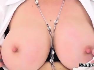 Unfaithful british mature gill ellis shows off her huge boob