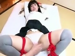Cute Asian schoolgirl gets her legs tied open and her cunny