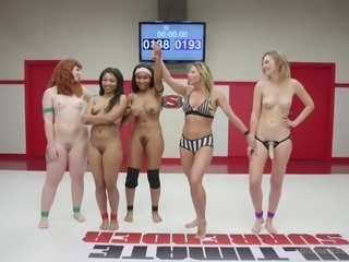 Four hot babes were struggling against each other and now, they are going to celebrate their victory with interracial lesbian ogry, right on the wrestling arena. Join us and enjoy four hot babes licking each other's pussies and...