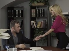 Fabulous blonde milf spread her legs on the desk for a guy