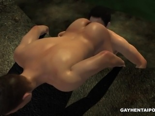 3D cartoon hunk gets his asshole licked and fucked in a sewer