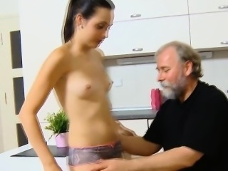Lovely young girl gets wicked and enjoys sex with old fucker