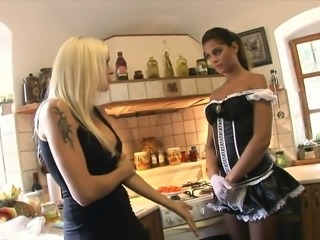 Stunning busty blonde babe seduces gorgeous young housemaid for lesbian action
