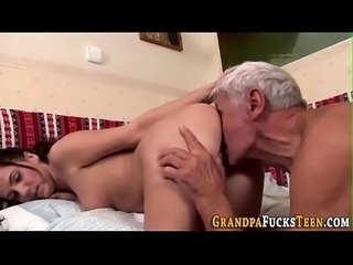 Slut fucks geriatric cock