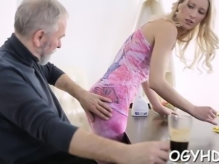Young playgirl licked and gives a oral-job to an old dude