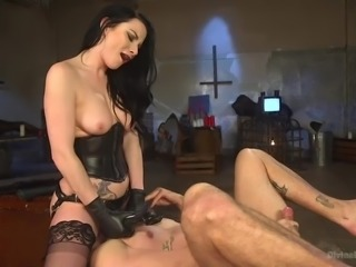 Is there any meaner mistress out there than Veruca? Probably not. She is very mean and cruel as she sits on her slave's face and smothers him. When she finally lets him get some air, she puts on her strap on and fucks his tight asshole.
