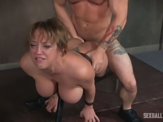 Busty short haired milf belted to the bench and fucked hard