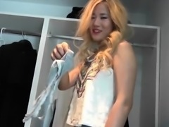 Blonde Asian girlfriend takes long boner from behind