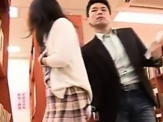 Pretty Japanese teen gets her tight cunt nailed hard in the