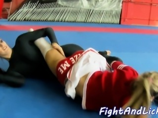 Spandex babes pussy licked by cheerleader