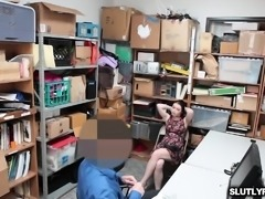 Thick cock romping the shoplifters tight pussy