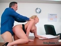 Slutty Secretary Brooklyn Chase Gets Punished By Boss