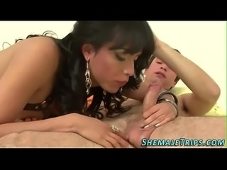 Trans babe gets cumshot