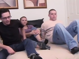 Two big dick army twinks get naughty with a hot blonde chick