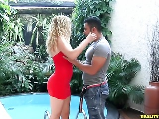 Blonde sexy has fire in her eyes as