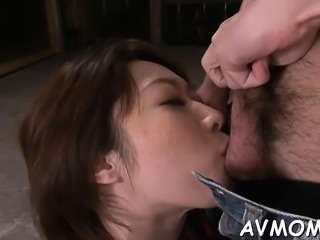 Horny mom with bald pussy takes large cock in throat