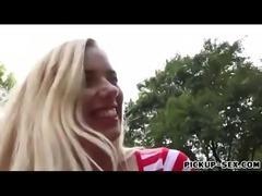 Blonde eurobabe flashes tits and fucked