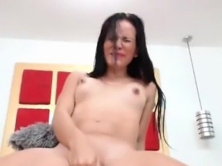 Brunette squirting with milk while has orgasm