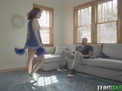 sexy cheerleader takes it hard from behind