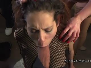 Slave bangs huge dicks in bdsm shop