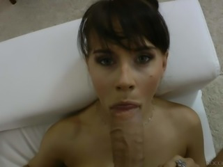 Naked brunette Leda gets her mouth stretched by a huge cock from your point of view. Rocco Siffredi is the one who fucks her face with no mercy. She chokes on his meaty cock for fun.