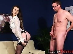 Cfnm babe rubs her pussy