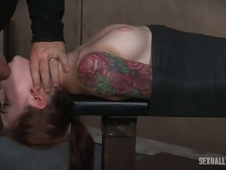 Lovely inked white chick wrapped in black cloth facefucked upside down