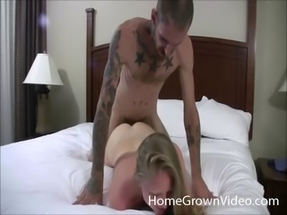 Adoring blonde chick is happy to feel a tattooed man's boner