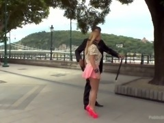 Wicked and hot blondie used for dirty gangbang in a public place