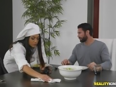 This hot Latina housekeeper is so daring that she will give a footjob right...