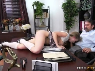 Looks like naughty Lena has real problems with studying and grades, and the headmaster is ready to drive her out of school. But she is not going to lose heart and is ready to do anything, to improve her situation. Lena shows him her big tits and offers hot sex right here, in his office... Enjoy impetuous sex action!
