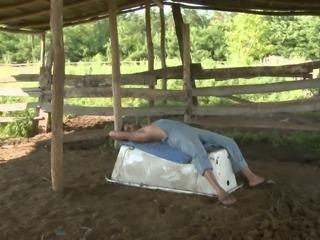 Sexy Bellina has her ass rammed by a farm boy outdoors