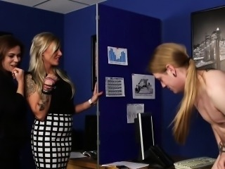 Clothed office dominas