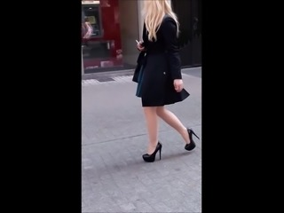 #12 Blonde girl with sexy legs in nice high heels
