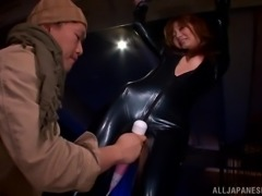 Gorgeous Asian Babe In A Sexy Leather Outfit Gets Her Pussy Toyed