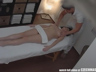 chubby lady was banged on the massage table